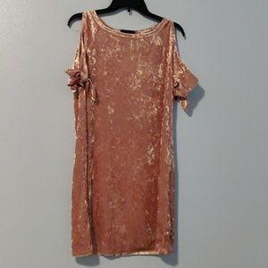 Velvet look cold shoulder dress